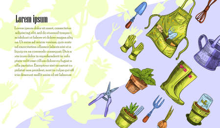 Vector banner with gardening tools and seedlings in engraving style with space for your text. Concept for landing pages, online shops, gardening markets. Outlines of the tools on the background.