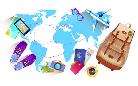 Vector banner with map of the world and travel objects in cartoon style. Summer vacation concept with little airplane, passport, camera, hat, tickets, compass, sunglasses. Isolated on white Vektoros illusztráció