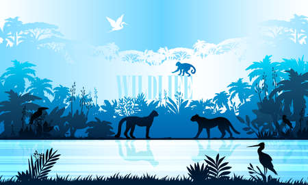 Jungle background with tropical trees, plants, animals and river bank. Rainforest banner with panther, monkey, stork silhouettes. Horizontal Amazonian landscape in trendy blue colors.