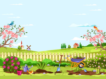 Spring village concept with gardening equipment, fence, windmill, house, blooming trees and bushes, roses, seedling, soil and boots. Backyard landscape with copy space in cartoon flat style for banners Vetores