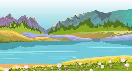 Vector paisaje horizontal con colinas, lago, flores y bosque. Fondo con montañas de primavera, río y cielo azul en estilo plano. Ilustración común para pancartas, carteles de viajes, fondos, impresiones.