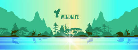 Wildlife vector background with mountains, forest and animals' silhouettes in green trendy colors. Horizontal stock banner with deer, elk and bear near the lake. Eco concept for ads, prints