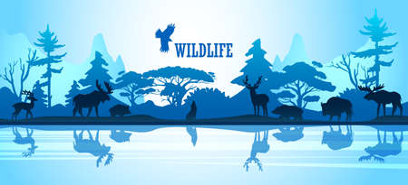 Wildlife vector background with mountains, forest and animals' silhouettes in blue trendy colors. Horizontal stock banner with deer, wolf, elk and bear near the lake. Eco concept for ads, prints