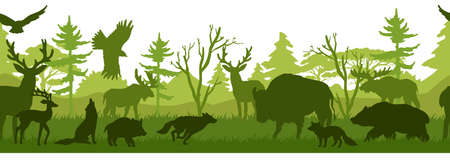 Horizontal seamless landscape with forest animals' silhouettes. Coniferous woods with bear, wolf, fox, stag, deer, eagle, falcon, buffalo, pig. Green wildlife background for prints, advertisements Иллюстрация