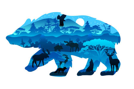 Vector stock poster with grizzly's outline in trendy blue colors. Nature protection concept with eagle moose, elk, wolf in night coniferous forest isolated on white. Illustration for ads, souvenirs