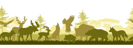 Horizontal seamless border with forest wild animals' silhouettes. Wild nature background with trees, grass, wolf, bear, eagle, elk and deer. Fauna eco banner for web pages, advertisements, prints Illusztráció