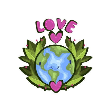 Cute vector ecological sticker with smiling Earth surrounded by green leaves. Illustration with pink heart and lettering in cartoon flat style.
