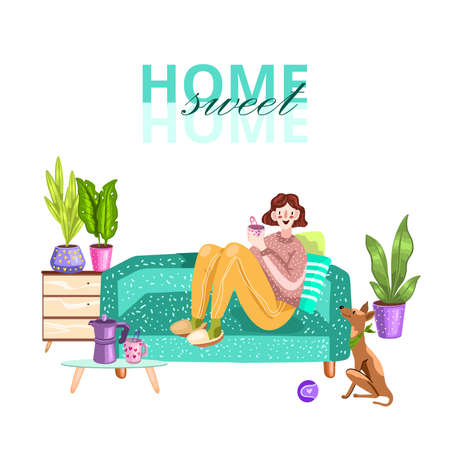 "Vector stock illustration ""Home Sweet Home"". Young girl resting on the sofa and drinking tea. Woman sitting on the couch with her pet and houseplants in the living room. Isolated on white."