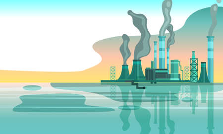Urban horizontal banner with factory pipes emitting toxic smoke into the air. Environment pollution concept in flat style with copy space. Plant near the river in grey color scheme. Vektorové ilustrace