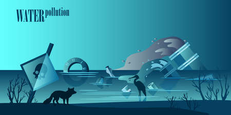 Water pollution concept in trendy blue colors with skull signboard, suffering animals and birds, plastic, garbage, sewage pipes. Environmental chemical and plastic pollution background.