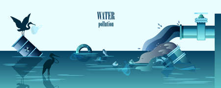Water pollution horizontal banner with pipes emitting dirty water, waste, birds and radioactive barrel. Ecological concept in flat style in trendy blue colors with copy space. Ilustração