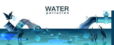 Water pollution banner with dirty pond, plastic bags, suffering birds. Background in trendy blue colors with huge pipes dumping chemicals into the river. Environmental concept in flat style Ilustração
