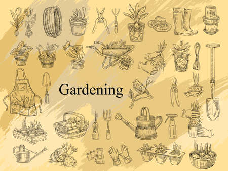 Vector farming set with gardening tools, seedlings, plants in pots, boots, apron and hat. Illustration in engraving vintage style for prints, logos, labels, flyers, shops, markets. Logo