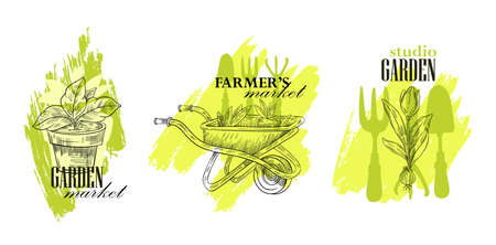 Vector stock logo set for garden markets and farming shops. Labels with plant in pot, wheelbarrow with seedlings, tulip in engraving sketch style on the green brushstroke background. Isolated on white