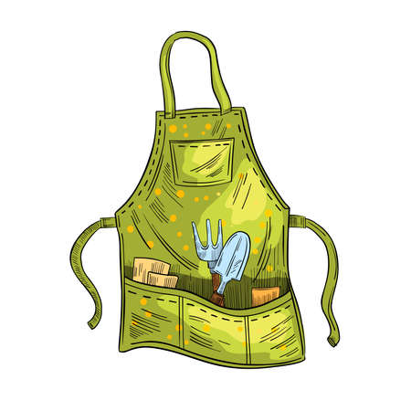 Stock colorful garden apron illustration in engraving style. Working protective clothes for farming or gardening. Small shovel and fork in the pockets. Isolated on white.