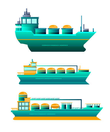Vector stock set of three tanker ships isolated on white in flat style. Cargo oil industry objects for infographics, web materials, presentations, advertisements.  Illustration