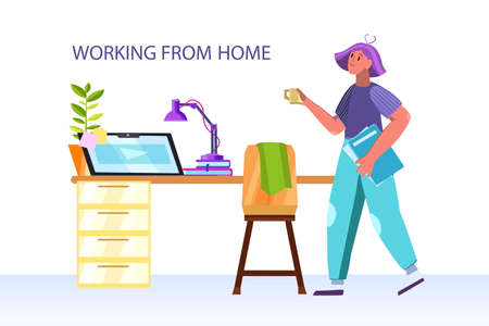 Working from home vector concept with female character, coffee cup, workspace, table, chair, computer, lamp, desk. Freelance concept with young woman during COVID-19 quarantine