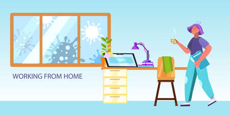 Vector remote working concept with female character and her cozy workspace at home. Freelance background with young girl, table, laptop, coronavirus images in the window, lamp  Ilustracja