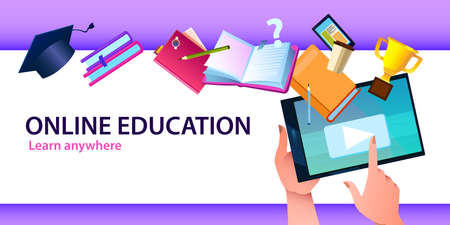 Online education banner with tablet, books, academic cap, prize, coffee cup, notebook and smartphone. E-learning background in flat style with copy space.