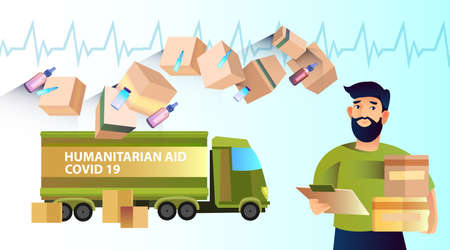 Horizontal banner Humanitarian Aid with green truck, boxes, cardiogram, medicine. Young bearded man with chart and packages in flat style. Product and medical help during COVID-19 pandemiс.