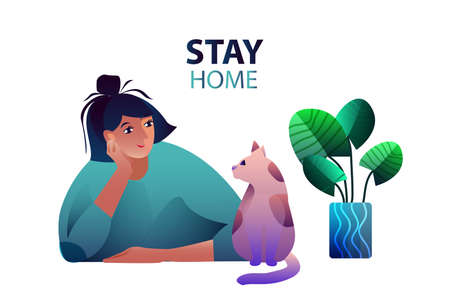 Vector flat illustration Stay Home. Female young character with her cat and house plant. Smiling woman with her pet on self-quarantine during COVID-19 outbreak. 向量圖像