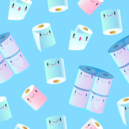 Vector seamless pattern with cute toilet paper rolls on the blue background. Kawaii texture with smiling toiletries  in pink and blue colors for wrapping paper, foliage, textile, prints.