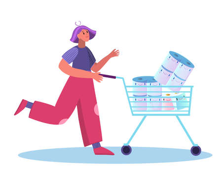 Stock vector illustration with young female character and shopping cart with cute smiling toilet paper rolls. Woman walking in store with her goods in cartoon style isolated on white