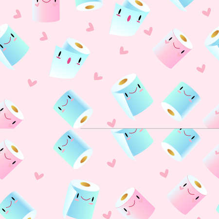 Vector seamless pattern with cute toilet paper rolls on the pink background with hearts. Kawaii texture with smiling toiletries in pink and blue colors for wrapping paper, foliage, textile, prints. Stock Illustratie