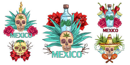 Vector hand drawn set with Mexican symbols with tequila bottle, skull, agave, sombrero, maracas, roses and candle. Concept for greeting cards, tattoo, souvenirs, prints and posters.