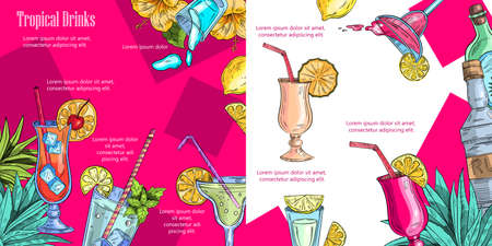 Vector background of a menu page with summer fruit, tropical flowers and leaves, alcoholic cocktails and bottles.  Illustration