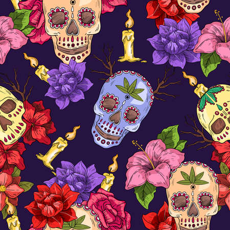 Vector hand drawn seamless pattern with skulls, roses, candles on black background. Illustration