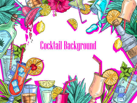 Tropical vector background with summer fruit, flowers and leaves, alcoholic cocktails and bottles with neon pink shadows. With white space for your text.