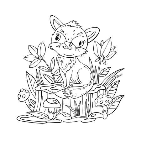 Vector coloring page with cute baby fox, mushrooms, flowers and stump. Coloring book with forest animal isolated on white. For nursery posters, pre-school educational games, prints.