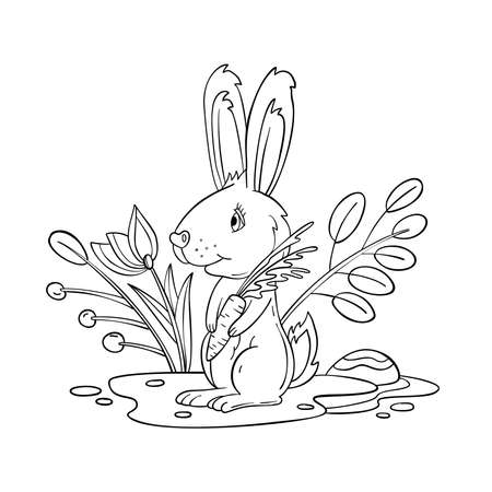 Vector coloring page with baby hare, flowers and leaves. Coloring book with Easter rabbit isolated on white. For nursery posters, pre-school educational games, prints.  Illustration