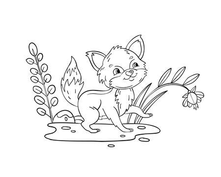 Vector coloring page with baby fox, plants, flower and leaves. Coloring book with kawaii forest animal isolated on white. For nursery posters, pre-school educational games, prints for kids.  Illustration