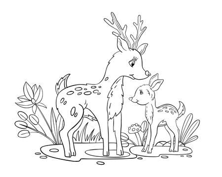 Vector coloring page with deer mother and her baby. Doodle coloring book with cute forest family, mushrooms, leaves, and plants. Isolated on white. For nursery posters, pre-school games, kids prints Illustration