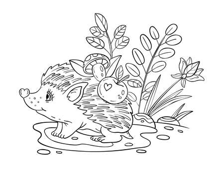 Vector coloring page with baby hedgehog, plants, apples, mushrooms, leaves. Doodle coloring book with cute animal isolated on white. For nursery posters, pre-school educational games,prints for kids.