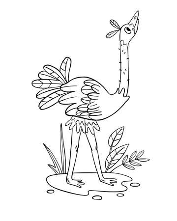 Vector coloring page with funny ostrich in a puddle. Tropical bird in cartoon doodle style. Coloring book for preschool educational games, materials, nursery posters and prints.