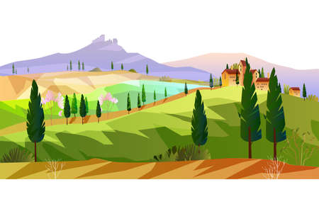 Horizontal Italian landscape with mountains, hills, vineyard, cypress. European rural view with trees, field and small villa. Autumn stock scenery in flat style.  Çizim