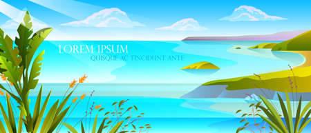 Horizontal tropical landscape with ocean, exotic plants, cliffs, seashore, clouds. Summer seascape with green hills, blue lagoon, copy space. Stock vacation concept for advertisements, travel agencies.
