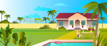 Summer banner with luxury villa, pool, plants, palms, lawn, clouds, fence, outdoor furniture. Beautiful cottage backyard in flat style. Tropical landscape for rental advertisements, booking web sites. Vecteurs