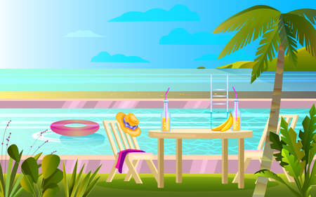 Summer rest banner with pool, table, chair, palm, hat. Picnic near ocean background in flat style. Tropical vacation concept with backyard, furniture, sea, clouds, exotic plants.