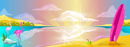 Horizontal sea landscape with islands, surf, pink board, coconut, flamingo, flares on the water and clouds. Exotic paradise view in cartoon style. Tropical summer background for banners, wallpapers Ilustracje wektorowe