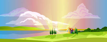 Horizontal rural landscape with little house, cypress, lake, hills, pink sky, clouds, meadow. Spring panoramic view in cartoon style with copy space. European village background with rays and flare.
