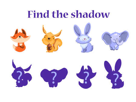 """Educational game for kids """"Find the Shadow"""" with cute baby fox, squirrel, rabbit and elephant. Funny activity for little kids. Animals and their outlines with question mark Isolated on white."""
