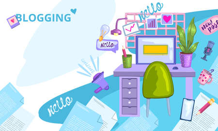 Vector stock content writing concept. Writer's working place with flying articles, camera, speech bubbles, microphone and coffee. Illustration for web page, banner, presentation, social media.