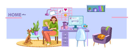 Vector home office concept with cute female character and her dog sitting at her comfortable workspace. Cozy quarantine concept with interior elements.