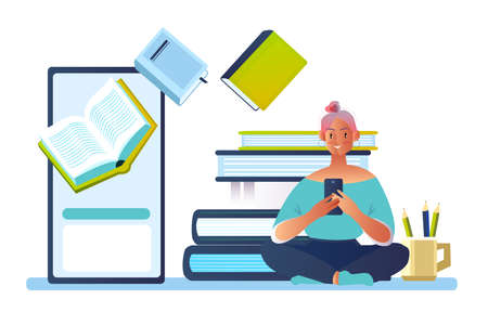 Vector concept with young female character reading e-book on smartphone screen. Online library banner with books, student and portable devices. Online education background in flat style