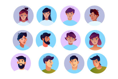 Vector stock set of peoples' avatars in flat style. Men and women faces in circles isolated on white. Young male and female characters with different hairstyles and ethnicities. Vecteurs