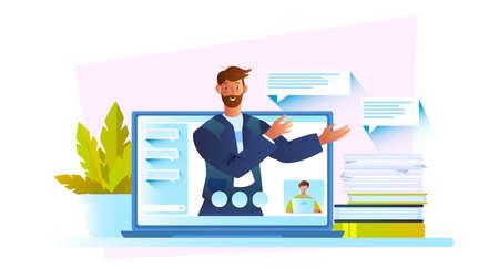 Concept vectoriel d'éducation en ligne avec un personnage masculin confiant, un écran d'ordinateur portable, des livres, des plantes d'intérieur et des messages. Illustration de chat vidéo avec un jeune tuteur joyeux qui enseigne en ligne pendant la quarantaine.